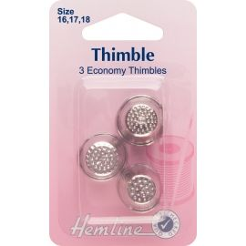 Thimble: Metal Assorted Sizes - 3pcs